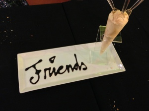 "With ""Friends"" written in chocolate topping - cute!"